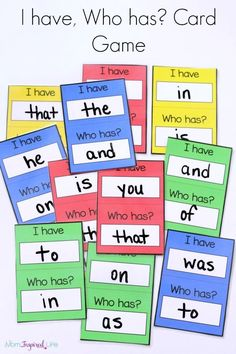 PHONICS: I have, Who has? card game for young kids to teach sight words, alphabet letters, shapes and more! Teaching Sight Words, Sight Word Practice, Sight Word Games, Sight Word Activities, Phonics Activities, Reading Activities, Literacy Games, Phonics Games Year 1, How To Teach Phonics
