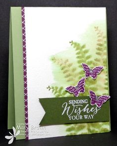 Sat Hop - SU - Butterfly Basics - Mary has a cool different watercoloring technique here! Butterfly Cards, Flower Cards, Hand Stamped Cards, Sympathy Cards, Greeting Cards, Stamping Up Cards, Cool Cards, Diy Cards, Watercolor Cards