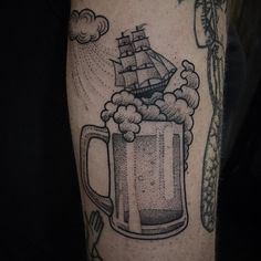 Storm in a beer mug. Prost.  next to an awesome piece done by the lovely @sweetsuetattoo ❤️