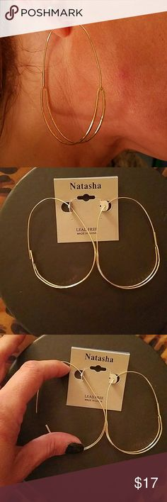 Natasha Lead Free gold to bed oval hoops Natasha Lead Free gold to bed oval hoops Natasha  Jewelry Earrings