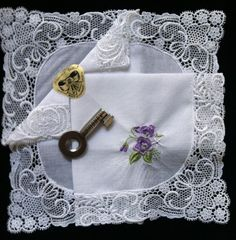 German Guipure Lace Trimmed Handkerchief Lavender Lilac Sweet Pea FLowers