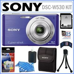 Sony Cyber-Shot DSC-W530 14.1 MP Digital Still Camera with 4x Wide-Angle Optical Zoom Lens and 2.7-inch LCD in Blue + SONY Case + 4GB CARD + Accessory Kit by Sony. $129.95. Shoot more life with the Sony DSC-W530.  Capture landscapes with one touch using Sweep Panorama, get that perfect portrait with Smile Shutter, snap wider scenes with the 26mm wide angle lens, get high quality photos with 14.1 megapixels, and automatically get clear shots with SteadyShot image s...