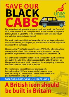 Leaflet and Facebook campaign to keep Black Cab production in the UK