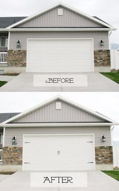 Or class it up with DIY carriage house doors. | 39 Budget Curb Appeal Ideas That Will Totally Change Your Home                                                                                                                                                                                 More