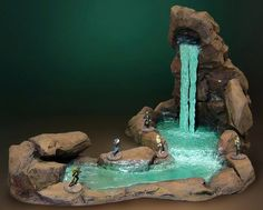 Got a new piece ready for the Mammoth Cave theme.a ROCK WATERFALL! The runoff stream disappears under some boulders into a vertical shaf. Rock Waterfall, Garden Waterfall, Fairy Garden Houses, Gnome Garden, Fairies Garden, Garden Sheds, Mammoth Cave, Wargaming Terrain, Fairy Furniture