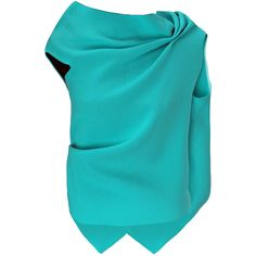 Roland Mouret Eugene Top (42.945 RUB) ❤ liked on Polyvore featuring tops, blouses, cowl neck top, draped cowl neck top, draped blouse, tie blouse and blue top