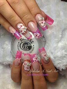 uñas con glitter rosa