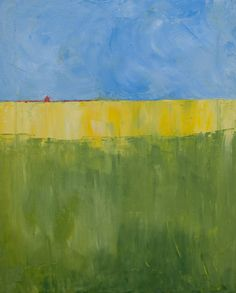 Oil Painting of abstracted wheat field landscape by Lillyglen, $135.00