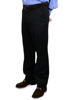 BERLE Black Wool Self Sizer Waistband Trousers