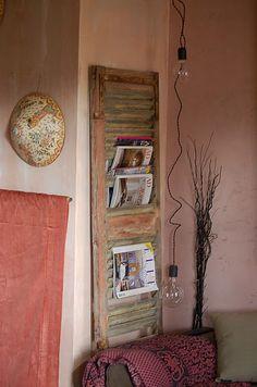 Wood shutter/magazine rack