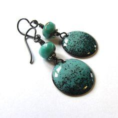 Turquoise green enamel disc earrings