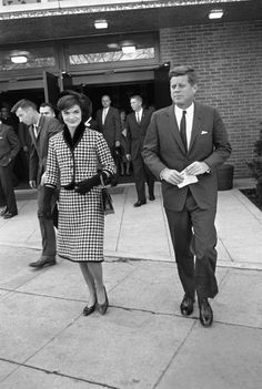 By Byron ROLLINS/ AP. Jackie Kennedy wore a coordinated houndstooth suit to church in Washington D. on Oct.