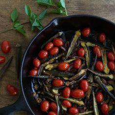 Okra & Cherry Tomato Stir Fry #recipe via An Unrefined Vegan http://www.yummly.com/recipe/Okra-_-Cherry-Tomato-Stir-Fry-1298229