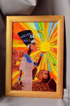 Этно ручной работы. Ярмарка Мастеров - ручная работа. Купить Витражная картина «Нефертити». Handmade. Витражная роспись, подарок мужчине