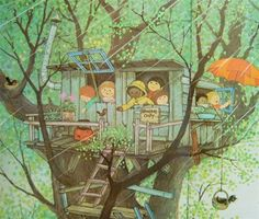 This was my favorite book as a child. i still love her illustrations! Illustration from Oh, What a Busy Day by Gyo Fujikawa, 1976