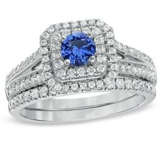 2 CT. T.W. Diamond & Sapphire Double Frame Bridal Ring Set 10K White Gold Finish #affordablebridaljewelry