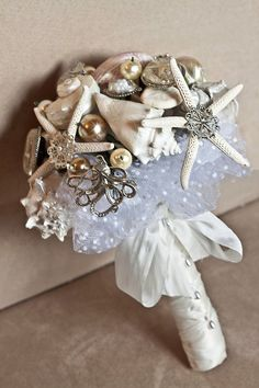 Starfish, and brooches for a beach wedding bouquet Beach Wedding Bouquets, Beach Wedding Shoes, Nautical Wedding, Diy Wedding, Dream Wedding, Bouquet Wedding, Wedding Wishes, Wedding Dreams, Wedding Things