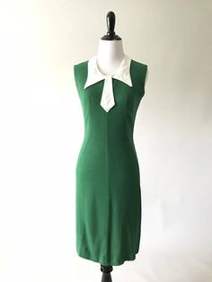 24a830f988 Wendy Dress 1960s Vintage Emerald Green Linen Bow Collar Wendy Dress, Buy  Clothes Online,