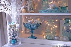 Christmas decorating with blue Ball jars