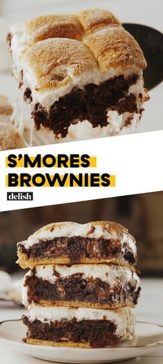 S'mores + Brownies = Dessert will NEVER be the same Get the recipe at Delish.com. #recipe #easy #easyrecipe #dessert #dessertrecipes #chocolate #brownies #smores #marshmallow #chocolaterecipes #chocolatechip #dessertrecipes