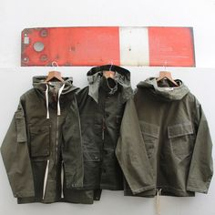 Glyder & Pasmore jackets & Gunners Smock in olive. Contact: richard@hawkwoodmercantile.com
