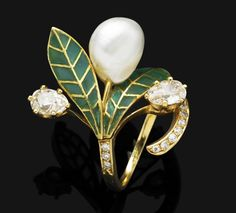 An Art Nouveau natural pearl, enamel and diamond ring, circa 1905  Of foliate design, the ring mounted with a baroque-shaped natural pearl measuring approximately 40.31 x 8.51 x 6.73mm, set between plique à jour enamel leaves, to the old-cut pear-shaped diamonds and single-cut diamond detail, mounted in gold, French assay mark, diamonds approximately 1.07 carats tota