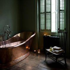dark green walls set off the copper tub Dark Green Walls, Dark Walls, Blue Walls, White Walls, Dark Green Bathrooms, Copper Tub, Up House, Interior Decorating, Interior Design