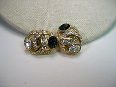 Vintage Nolan Miller Faux Sapphire & Diamond Convertible Pierced/Clip Gold Tone Earrings
