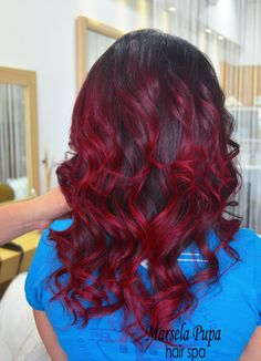 Balayage rosso lampone rosso clinto. Freespirit color