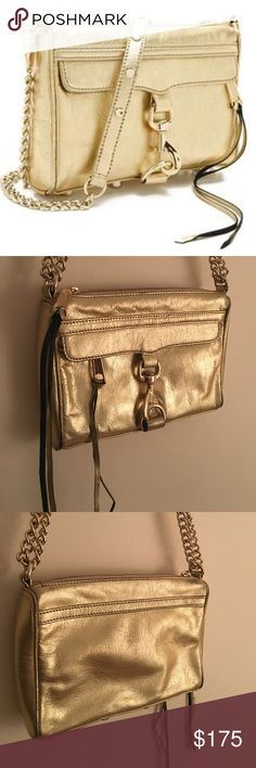 Rebecca Minkoff Mini MAC in Gold Gorgeous REBECCA MINKOFF Mini MAC Clutch in Metallic Gold with Light Gold Hardware. Crafted in Luxe Metallic Leather with Accents of Black Burnout Give This Bag Edginess. This Bag is SOLD OUT and Hard To Find! Absolutely Stunning in Person. Only Worn a Few Times, LIKE NEW. Interior Is Spotless, No Dirt or Stains. Guaranteed AUTHENTIC. Only Serious Offers Please! Rebecca Minkoff Bags Clutches & Wristlets