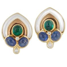 1980's Pearl And Cabochon Emeralds ,Sapphires With Diamond Gold Earclips | From a unique collection of vintage clip-on earrings at https://www.1stdibs.com/jewelry/earrings/clip-on-earrings/