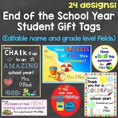 End of the School Year, Graduation Student Gift Tags, 24 D