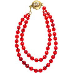 Chanel Pre-Owned: Chanel Vintage Red Gripoix Beaded Choker Necklace... (54,410 PHP) ❤ liked on Polyvore featuring jewelry, necklaces, red, chanel jewelry, beaded flower necklace, red choker, red jewelry and flower choker necklace