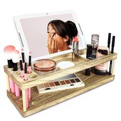 Makeup Brush Storage Glam - wooden makeup storage beauty station & makeup brush holder with phone station Makeup Brush Case, Makeup Brush Storage, Makeup Storage Organization, Best Makeup Brushes, Eye Makeup Tips, Best Makeup Products, Makeup Tray, Makeup Desk, Paint Brush Holders
