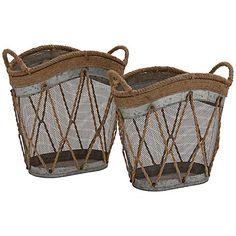 Oakton Jute and Metal Basket Magazine Holder Set of 2 Decorative Accessories, Home Accessories, Metal Vase, Metal Baskets, Rope Basket, Magazine Holders, Magazine Rack, Nautical Home, Joss And Main