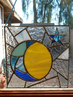 Stained Glass Celestial Panel-Moon-Sun-Star