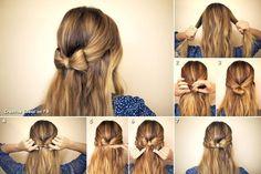 DIY Hair Bow Hairstyle hair bow beauty long hair updo hairstyle how to diy hair hair tutorial hairstyles tutorials hair tutorials easy hairstyles No Heat Hairstyles, Diy Hairstyles, Easy Hairstyle, Hairstyle Ideas, Hair Ideas, Simple Hairstyles, School Hairstyles, Club Hairstyles, Summer Hairstyles