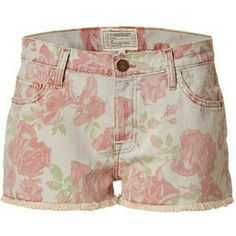 Current/Elliott Floral Cut Off Denim Shorts Get the look of the moment in these must-have printed shorts from Current Elliott. Classic five-pocket styling, boyfriend cut, all-over rose print, frayed hem. Style with wedge heels, an oversized tee, and a boyfriend blazer. 92%Cotton 7%polyester 1%Spandex. Size 26. Current/Elliott Jeans