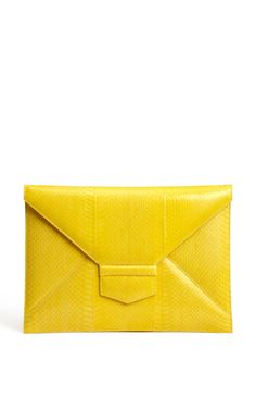 Oscar de la Renta yellow envelope clutch