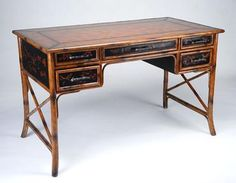 1Faux Bamboo and Chinoiserie Black Lacquer Writing Desk 19th Century Style with 5 Drawers and Leather Top