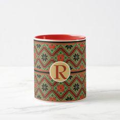 Folklore Mug Personalized Monogram RED GREEN Cozy - traditional gift idea diy unique