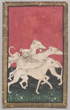 5 of Hounds, from The Courtly Hunt Cards, Workshop of Konrad Witz (German, Rottweil Basel or Geneva), ca. Medieval Games, Medieval Art, Kunsthistorisches Museum Wien, Medieval Paintings, Artist Workshop, Book Of Hours, Statues, Basel, Classic Image