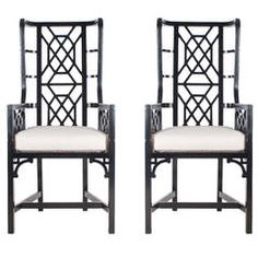 Modern Pair of Black Chippendale Chinoiserie Armchairs