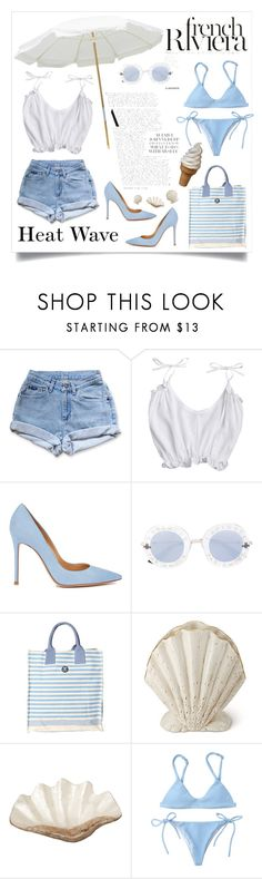 """""""Heat Wave in French Riviera"""" by agate-mu ❤ liked on Polyvore featuring Levi's, Anja, Gianvito Rossi, Gucci, Barbour, AERIN and Pearl Dragon"""