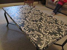 Fabric Decoupage Makeover - redo parsonage coffee table!