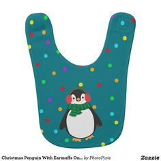 Christmas Penguin With Earmuffs On Green Baby Bib