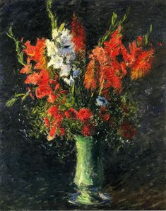 Vase of Gladiolas, 1887 by Gustave Caillebotte. Impressionism. flower painting. Private Collection
