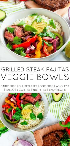Grilled steak fajitas veggie bowls are an easy, healthy dinner recipe that's light and full of veggies! | #glutenfree #whole30 #healthydinnerrecipes #healthygrilling| nutritiontofit.com