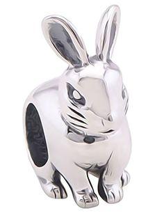 Sitting Rabbit Charm Bracelet Bead - Sterling Silver 925