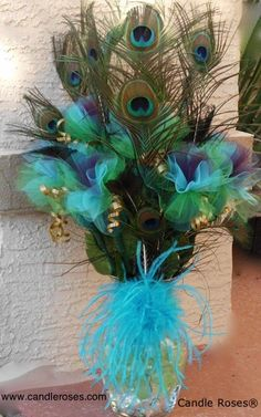 Very pretty but I don't know if I'd want it for my wedding. I want it do… Very pretty but I don't know if I'd want it for my wedding. I want it done in sophisticated black and white Peacock Centerpieces, Peacock Decor, Peacock Colors, Peacock Feathers, Peacock Party Ideas, Peacock Wedding Decorations, Peacock Wreath, White Peacock, Peacock Print